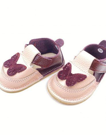 Pantofiori din piele naturala barefoot Puf roz visiniu Fluturas
