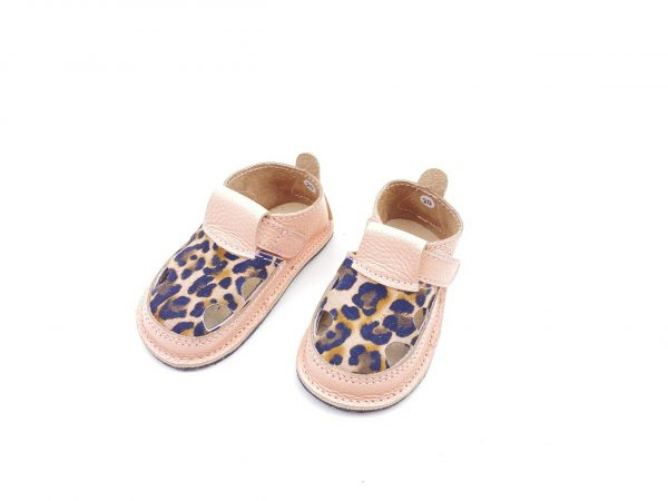 Sandale barefoot din piele naturala Kinder roz pudrat-print leopard