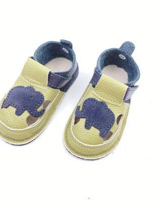 Sandale barefoot din piele naturala Kinder gri verde Elefant
