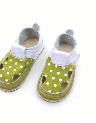 Sandale barefoot din piele naturala Colectia Bebe Spring-Summer 2021 alb verde buline
