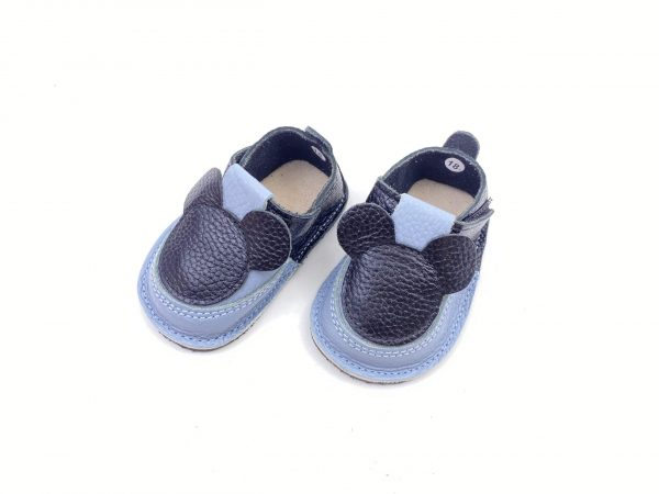 Pantofiori din piele naturala barefoot Puf negru-bleo Mickey