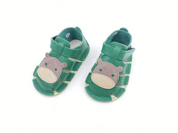 Sandale din piele naturala PUF verde Baby hipo