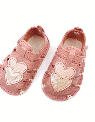 Sandale din piele naturala PUF roz Inimioare