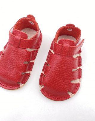 Sandale din piele naturala PUF rosu UNI