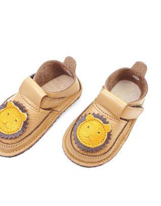 Pantofi barefoot din piele naturala Kinder Leu cafea cu lapte