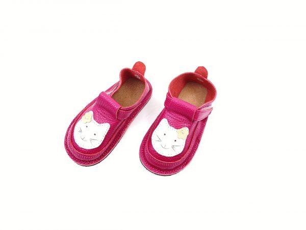 Pantofi barefoot din piele naturala Kinder Pisicuta fucsia