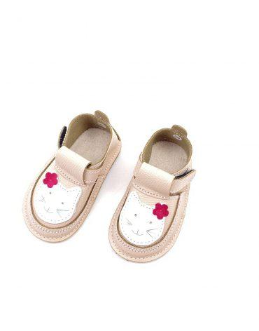 Pantofi barefoot din piele naturala Kinder Pisicuta nude