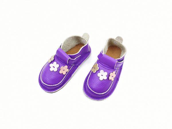 Pantofi barefoot din piele naturala Kinder Floricele lavanda