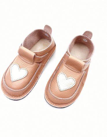 Pantofi barefoot din piele naturala Kinder love piersica