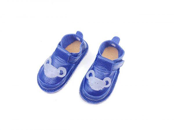Pantofi barefoot din piele naturala Kinder Soricel navy