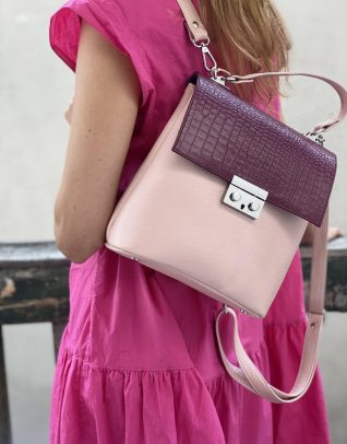 Rucsac Felicity 2-in-1 din piele naturala roz/croco