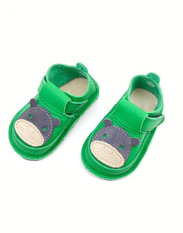 Pantofi barefoot din piele naturala Kinder HIPO verde