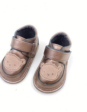 Ghete din piele naturala barefoot Kinder bronze maimutica