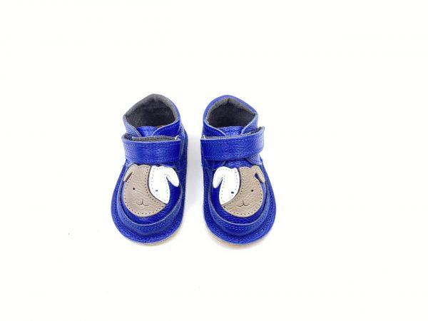 Ghete din piele naturala barefoot Kinder catel albastru