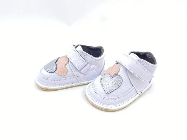 Ghete din piele naturala barefoot Kinder alb inimi